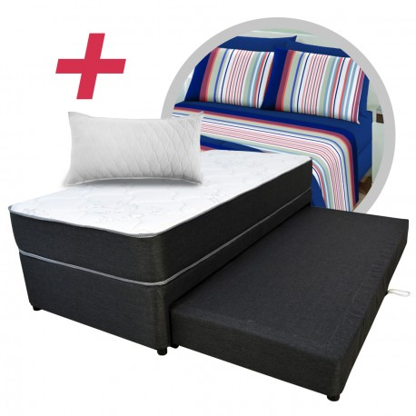 Marinera Viggo Dual Bed 90x190 + Colchón Viggo Premium + sábanas + 1 almohada